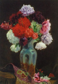 peonies and summer flowers in a glass vase by max spilhaczek