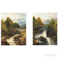 pair of landscapes with waterfalls: on the ti..., wales by james burrell smith