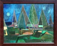 cubist forest 34 by john f. leonard