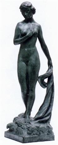 stående ung kvinna med drapering by alfred ohlson