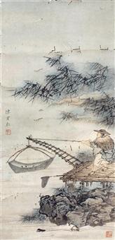 捕鱼图 立轴 设色纸本 by chen shaomei