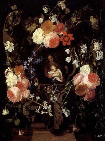 Guirlande De Fleurs Entourant La Vierge A Lenfant By Daniel Seghers