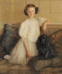 portrait of miss naomi andrews, age 12, and her spaniel by dewitt mcclellan lockman