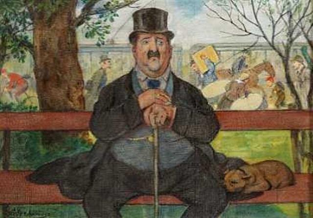 siddende herre med hund by adolf oberlander