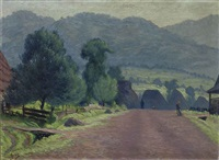 figures at a village before a hillside by vaclav antos