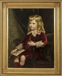 young boy in red velvet suit, with lace trim holding a book, in the guise of little lord fauntleroy by alfred edward emslie