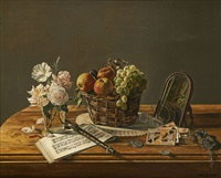 nature morte aux partitions musicales by joseph albert