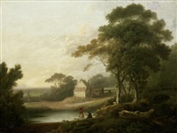 figures in a river landscape, a farmhouse beyond by john rathbone