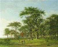 a wooded summer landscape with a peasant girl and cattle by arnoldus johannes eymer