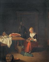 interieur mit küchenmagd beim gemüseschneiden by justus juncker