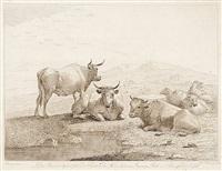 köpfe (2), figürliche und tierdarstellungen (14 works) by johann heinrich tischbein the younger
