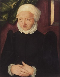 portrait of an elderly lady wearing a black, lace-trimmed dress and a white headdress by christoph amberger