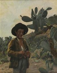 jeune garçon dans un champ de cactus by pierre ribera