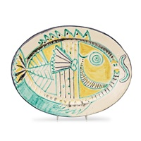 a pablo picasso 'poisson de profil' faience dish with a unique decor by pablo picasso