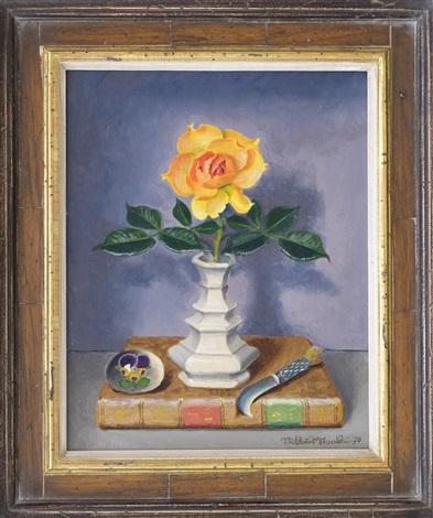 Stilleben mit Rose und Buch by Niklaus Stoecklin on artnet