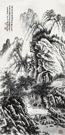 柱杖听泉图 landscape by xie zhiliu