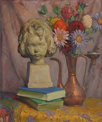 still-life with sculpture, books and flowers by abel george warshawsky