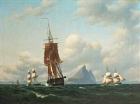 "the frigate ""thetis"", a danish brig and a brig under the american flag by gibraltar by carl dahl"