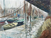 fishing boats at a wharf, barcelona by francesc carbonell massabe