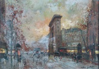 paris street scene (+ another; pair) by octave guilbert