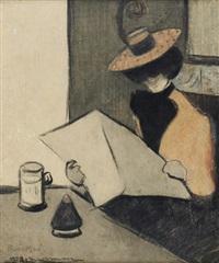 senhora sentada à mesa de um café by thomas julio léal da camara