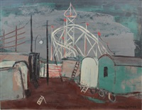 hamburg funfair (+ figures; verso) by arnold fiedler
