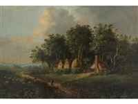 drover and sheep in a coutry lane (+ another landscape; 2 works) by obadiah short