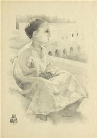 petit garçon sur un toît by paul alexandre alfred leroy