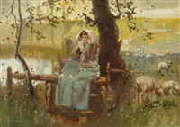 reading under a tree in the pasture by john lochhead