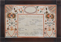 untitled (fraktur birth certificate for joseph peter) by martin brechall