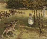 feeding the deer in the park by william samuel jay