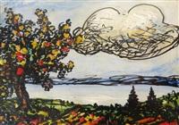 arbre fruitier au bord d'un lac by andré jean evard