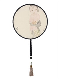 都市女郎 宫扇 设色绢本 (painted in 2014 circular fan) by liu qinghe