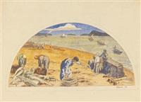 fishermen (lunette) (+ drei entwürfe für kommoden, verso) by iwan wasiljewitsch kljun
