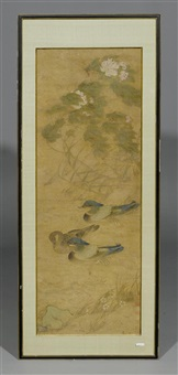 drei mandarin-enten, davon ein pärchen, paddeln gemächlich dem ufer entlang by anonymous-chinese (18)