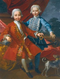 a portrait of two elegantly dressed boys in an interior playing with a dog by carlo amalfi