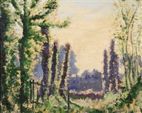 spring landscape with poplars by norman lloyd