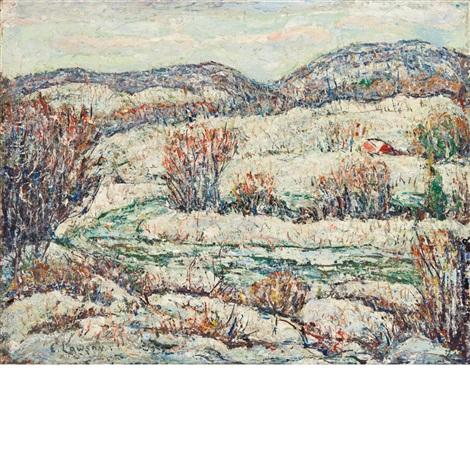 snowy winter by ernest lawson