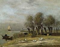 holländische kanallandschaft mit weiden by rudolf ribarz