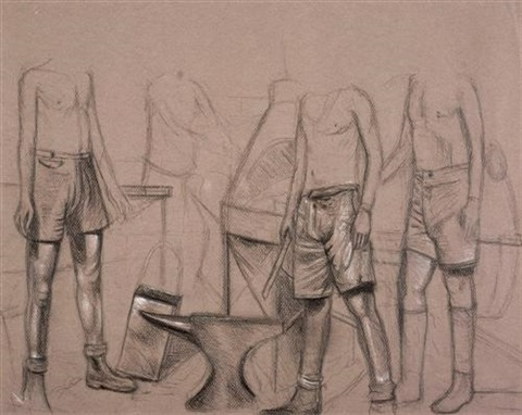 figure group another charcoal on paper 2 works by shaun gladwell