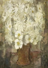 still life of white dahlias by frank sydney spears