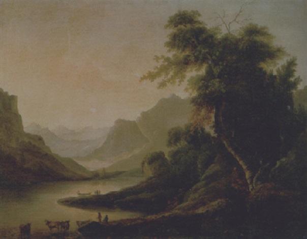 paesaggio montano con lago e scena di vita by massimo dazeglio