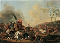 ottoman-habsburg war scene, possibly the battle of belgrade (1717) by continental school (18)