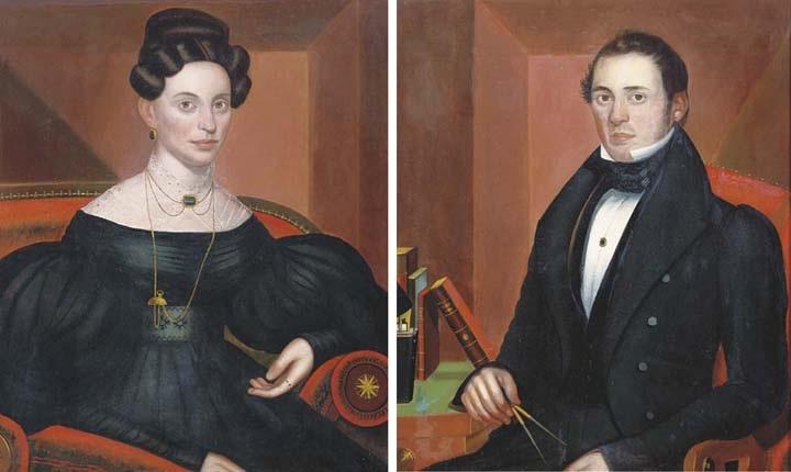 portrait of a lady (+ portrait of a gentleman; pair) by john sherburne blunt