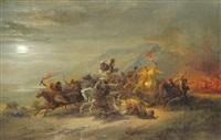 nächtlicher überfall der beduinen by johann hermann kretzschmer