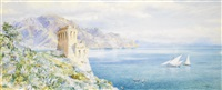 old watch tower, overlooking the bay of salerno by frederick henry linton jehne townsend