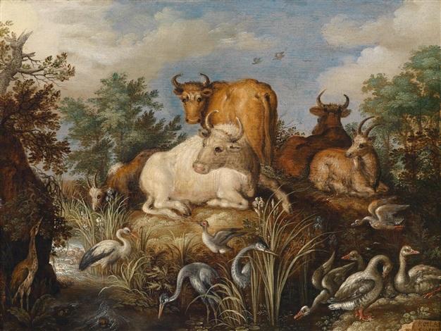 tiere in einer bewaldeten landschaft an einem bach by roelandt savery