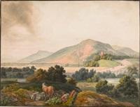 südliche flussebene mit einem rastenden pferdehirten und dicht bewachsenen bergen im hintergrund by peter vischer the younger