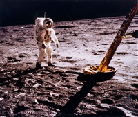 buzz aldrin walks on the moon, apollo 11, july 1969 by neil armstrong