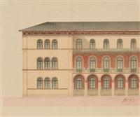 königin-therese-villa, jetzt prinz leopold-palais, an der schwabinger landstraße in münchen (+ another, lrgr.; 2 works) by friedrich von gartner